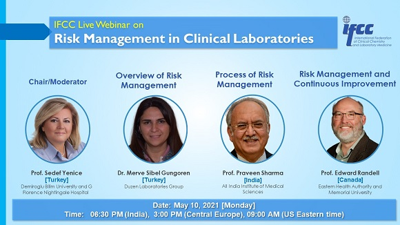 Register to the 10th May IFCC webinar on: Risk Management in Clinical Laboratories